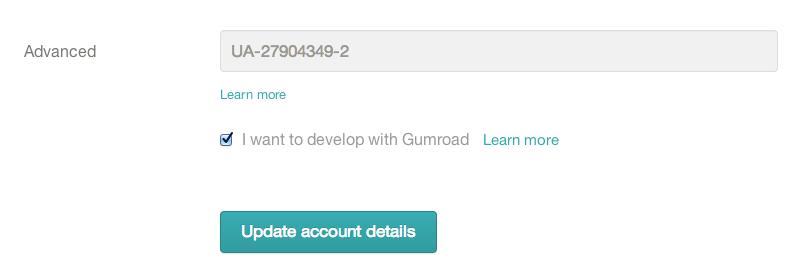 Gumroad GA setting